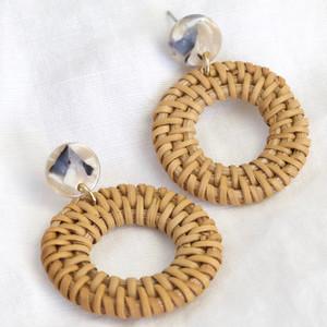 Resin and Wicker Statement Drop Earrings