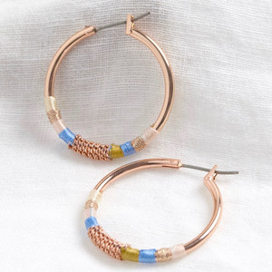 Rose Gold Wrapped Hoop Earrings in Blue and Pink