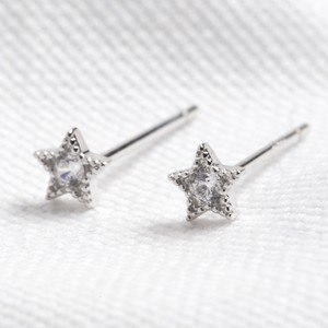 Sterling silver star earrings -Rhodium