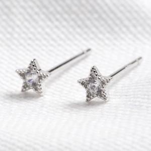 Sterling silver star earrings -Rhodium