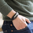 Men's Personalised Black Layered Leather Stainless Steel Tube Bracelet on Model