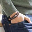 Men's Brown Leather Stainless Steel Infinity Bracelet on Model