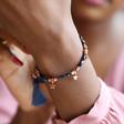 Navy and Rose Gold Star Charm Friendship Bracelet on Model