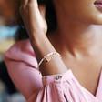 Silver Beaded Heart Charms Friendship Bracelet on Model