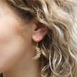 Beaded Crescent Moon Drop Earrings in Gold on Model