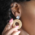 Resin and Wicker Statement Drop Earrings on Model