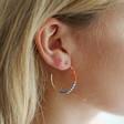 Seed Bead Hoop Earrings in Gold on Model