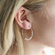 Seed Bead Hoop Earrings in Rose Gold on Model