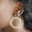 Statement Disc Charm Cluster Drop Earrings on Model