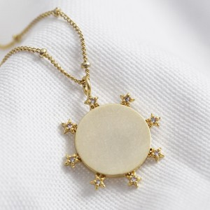 Crystal Edge Disc Necklace in Antiqued Gold