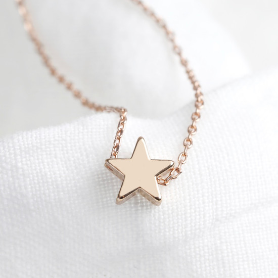 Star Bead Necklace in Rose Gold
