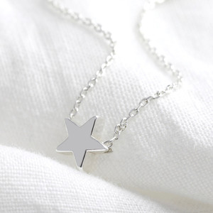 Star Bead Necklace in Silver