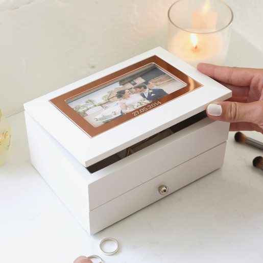 Personalised White Photo Frame Jewellery Box