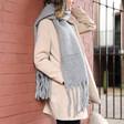 Grey Winter Tassel Scarf on Model