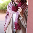 Ladies' Red & Pink Check Scarf on Model