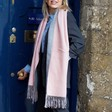 Two Tone Pink & Grey Scarf on Model