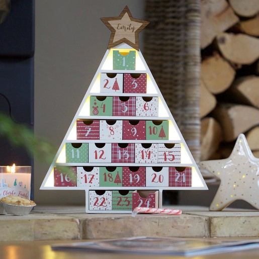 Angel Shaped Christmas Tree.Personalised Festive Wooden Fill Your Own Advent Calendar Tree
