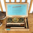 Inside of Personalised 'Buff & Shine' Cigar Box Shoe Kit