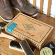 Lisa Angel Men's Personalised 'Buff & Shine' Cigar Box Shoe Kit