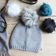 Lisa Angel Ladies' Grey Winter Hat with Four Interchangeable Pom Poms