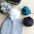 Lisa Angel Knitted Grey Winter Hat with Four Interchangeable Pom Poms