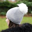 Model Wearing Lisa Angel Grey Winter Hat with Four Interchangeable Pom Poms