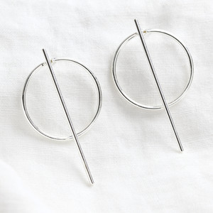 Circle & Bar Stud Earrings in Silver