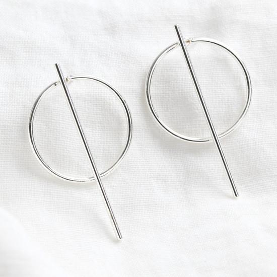 Circle & Bar Stud Earrings in Silver