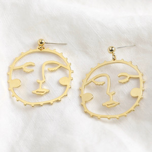 Large Sunshine Face Drop Earrings in Gold