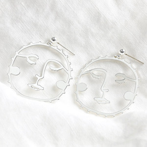 Large Sunshine Face Drop Earrings in Silver