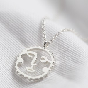 Small Sunshine Face Pendant Necklace in Silver