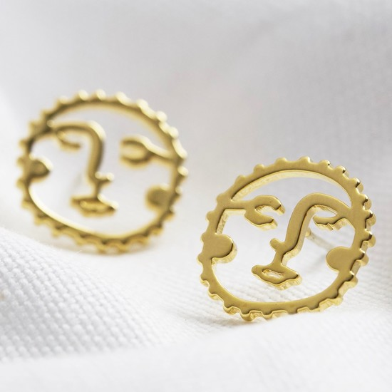 Sunshine Face Stud Earrings in Gold