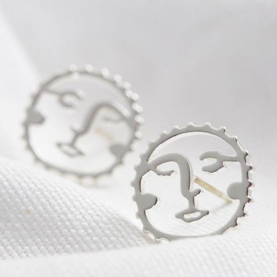 Sunshine Face Stud Earrings in Silver