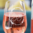 Close up of Ladies' Personalised Name Garland Wine Glass