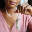 Long Tassel and Double Star Charm Necklace on Model