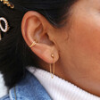 Ball Stud and Chain Earrings in Gold on Model