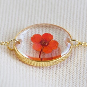 Pressed Birth Flower Charm Bracelet in Gold - June