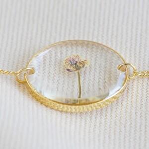 Pressed Birth Flower Charm Bracelet in Gold - November