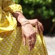 Women's Personalised Crystal Rainbow Bracelet on Model