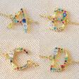 Lisa Angel Ladies' Rainbow Crystal Initial Bracelet in Gold - A B C D