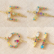 Lisa Angel Ladies' Rainbow Crystal Initial Bracelet in Gold - E F G H