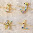 Lisa Angel Ladies' Rainbow Crystal Initial Bracelet in Gold - I J K L