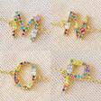 Lisa Angel Ladies' Rainbow Crystal Initial Bracelet in Gold - M N O P