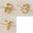 Lisa Angel Ladies' Rainbow Crystal Initial Bracelet in Gold - R S T