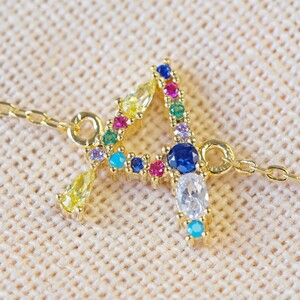Rainbow Crystal Initial Bracelet in Gold - A