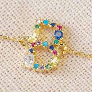 Rainbow Crystal Initial Bracelet in Gold - B