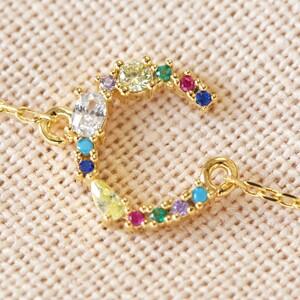 Rainbow Crystal Initial Bracelet in Gold - C