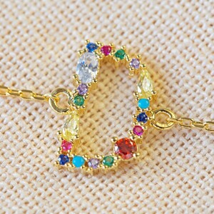 Rainbow Crystal Initial Bracelet in Gold - D