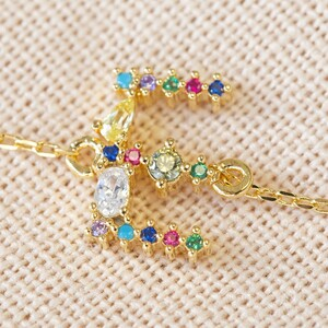 Rainbow Crystal Initial Bracelet in Gold - E