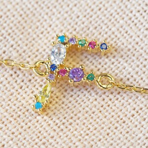 Rainbow Crystal Initial Bracelet in Gold - F
